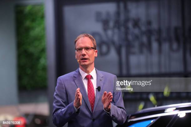 Michael Lohscheller chief executive officer of Adam Opel AG gestures while speaking during the first media preview day of the IAA Frankfurt Motor...
