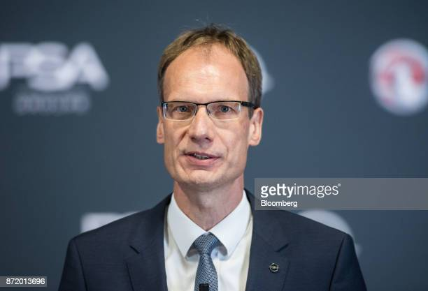 Michael Lohscheller chief executive officer of Adam Opel AG speaks during a news conference at the Opel factory in Ruesselsheim Germany on Thursday...