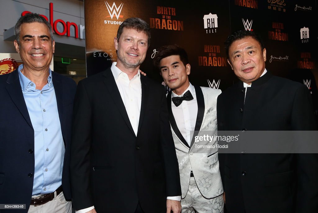 Michael London, George Nolfi, Phillip Ng and Leo Shi Young attend the Premiere Of WWE Studios' 'Birth Of The Dragon' at ArcLight Hollywood on August 17, 2017 in Hollywood, California.
