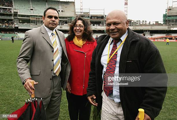 Michael Long Aunty Joy Murphy and Maurice Rioli at the Welcome to Country ceremony during the AFL Round 15 match between the Richmond Tigers and the...
