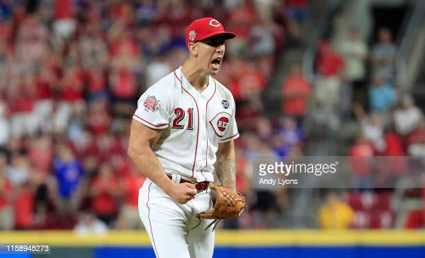 Michael Lorenzen of the Cincinnati Reds celebrates after the final out of the 63 win against the Chicago Cubs at Great American Ball Park on June 28...