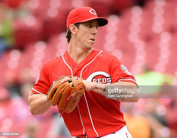 Michael Lorenzen of the Cincinnati Reds pitches during the game against the Chicago Cubs at Great American Ball Park on October 1 2015 in Cincinnati...