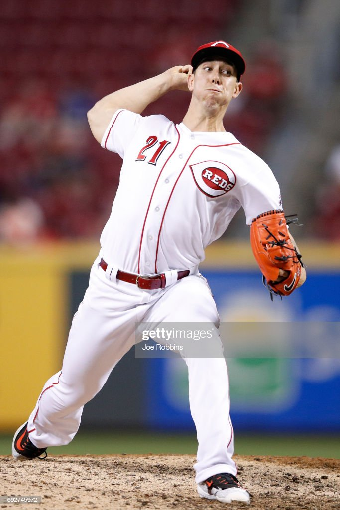 Michael Lorenzen #21 of the Cincinnati Reds pitches in the eighth inning of a game against the St. Louis Cardinals at Great American Ball Park on June 5, 2017 in Cincinnati, Ohio. The Reds defeated the Cardinals 4-2.