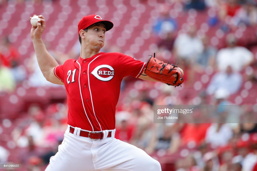 Michael Lorenzen #21 of the Cincinnati Reds pitches in the eighth inning against the New York Mets at Great American Ball Park on August 31, 2017 in Cincinnati, Ohio. The Reds defeated the Mets 7-2.