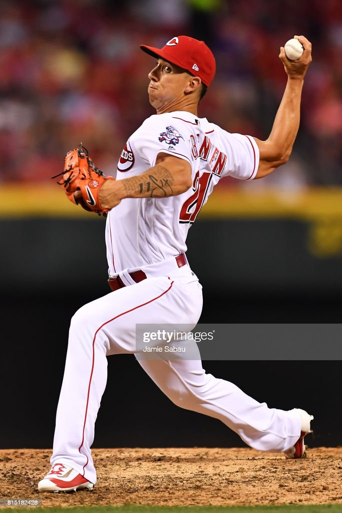 Michael Lorenzen #21 of the Cincinnati Reds pitches in the seventh inning against the Washington Nationals at Great American Ball Park on July 15, 2017 in Cincinnati, Ohio. Washington defeated Cincinnati 10-7.
