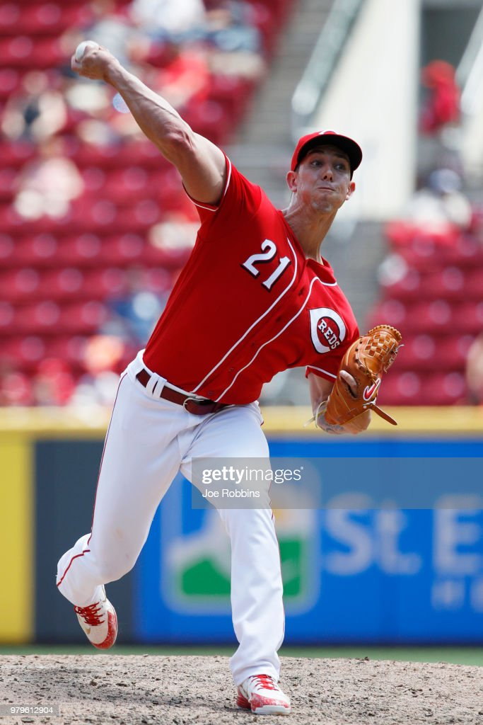 Michael Lorenzen #21 of the Cincinnati Reds pitches in the seventh inning against the Detroit Tigers at Great American Ball Park on June 20, 2018 in Cincinnati, Ohio. The Reds won 5-3.