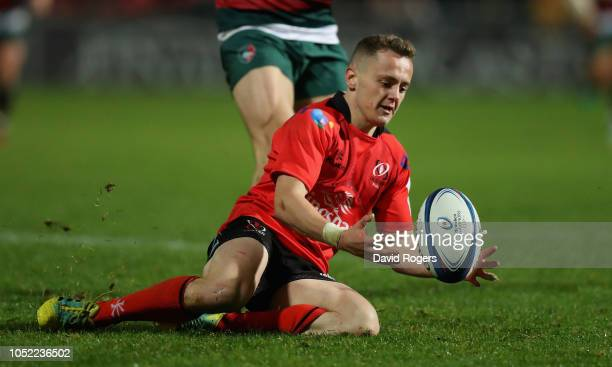 Michael Lowry of Ulster catches the ball during the Champions Cup match between Ulster Rugby and Leicester Tigers at the Kingspan Stadium on October...