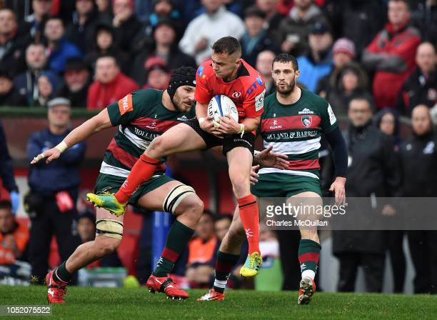 Michael Lowry of Ulster during the Champions Cup match between Ulster Rugby and Leicester Tigers at Kingspan Stadium on October 13 2018 in Belfast...