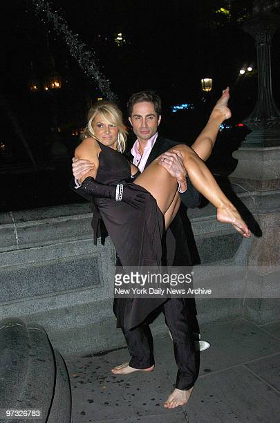 Michael Lucas carries Savanna Samson in his arms during filming of a romantic scene from the adult film 'La Dolce Vita' at the Jacob Wrey Mould...