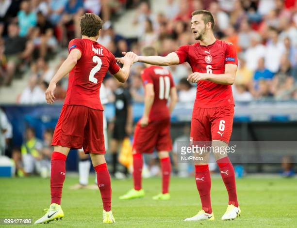 Michael Luftner and Stefan Simic of Czech celebrate after third goal during the UEFA European Under21 Championship 2017 Group C between Czech...