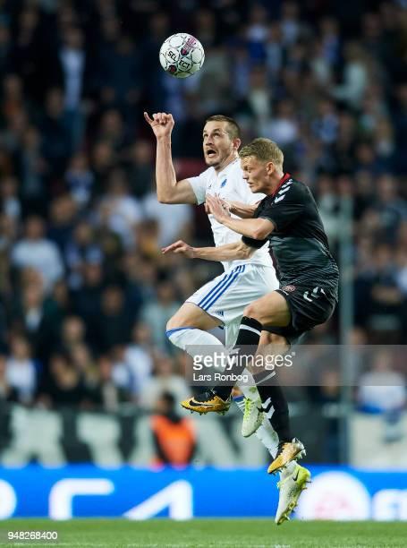 Michael Luftner of FC Copenhagen and Kasper Kusk of AaB Aalborg compete for the ball during the Danish Alka Superliga match between FC Copenhagen and...