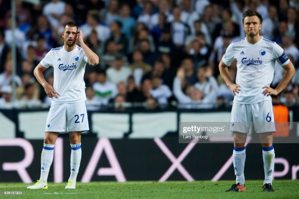 Michael Luftner of FC Copenhagen looks dejected during the UEFA Champions League Playoff 2nd Leg match between FC Copenhagen and Qarabag FK at Telia Parken Stadium on August 23, 2017 in Copenhagen, Denmark.