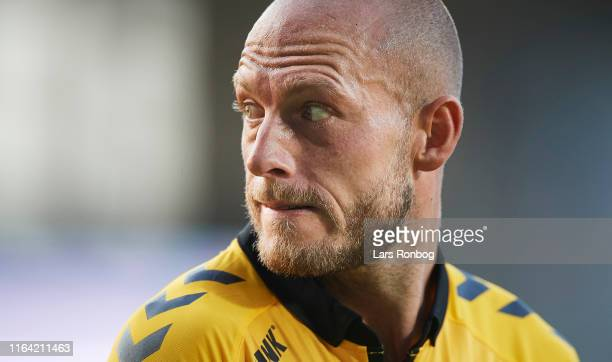 Michael Lumb of AC Horsens looks on during the Danish 3F Superliga match between AC Horsens and AaB Aalborg at CASA Arena on August 26 2019 in...