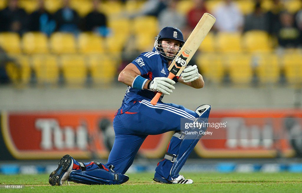 Michael Lumb of England bats during the third Twenty20 International match between New Zealand and England at Westpac Stadium on February 15, 2013 in Wellington, New Zealand.