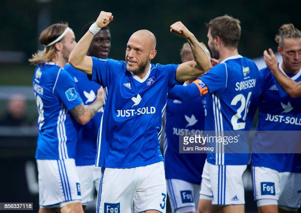 Michael Lumb of Lyngby BK celebrates after scoring their first goal during the Danish Alka Superliga match between Lyngby BK and FC Copenhagen at...