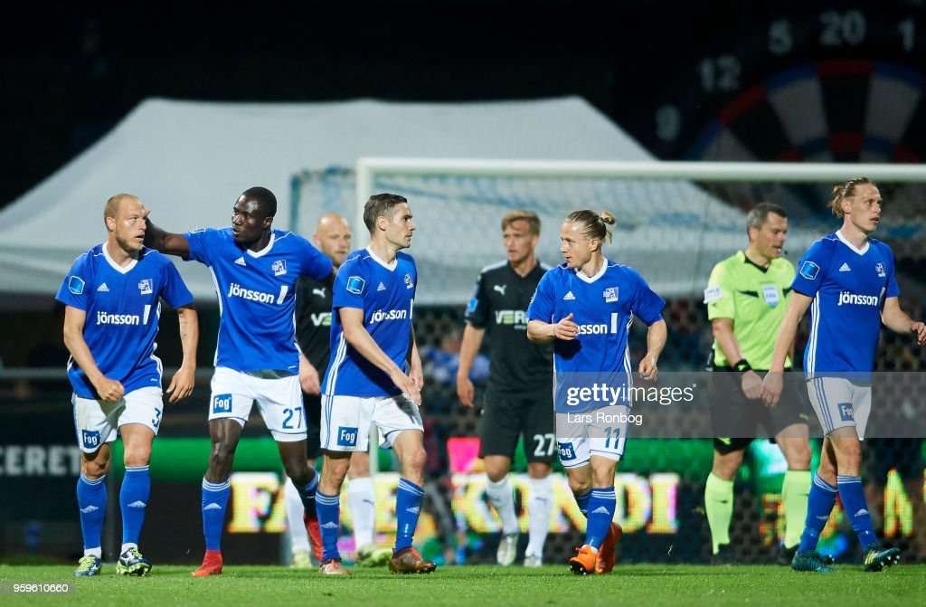 Michael Lumb of Lyngby BK celebrates after scoring their first goal during the Danish Alka Superliga match between Lyngby BK and Randers FC at Lyngby Stadion on May 17, 2018 in Lyngby, Denmark.