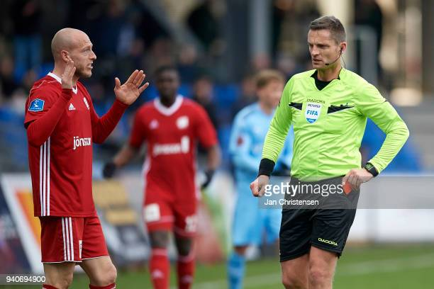 Michael Lumb of Lyngby BK get a red card from Referee Anders Poulsen during the Danish Alka Superliga match between Randers FC and Lyngby BK at...