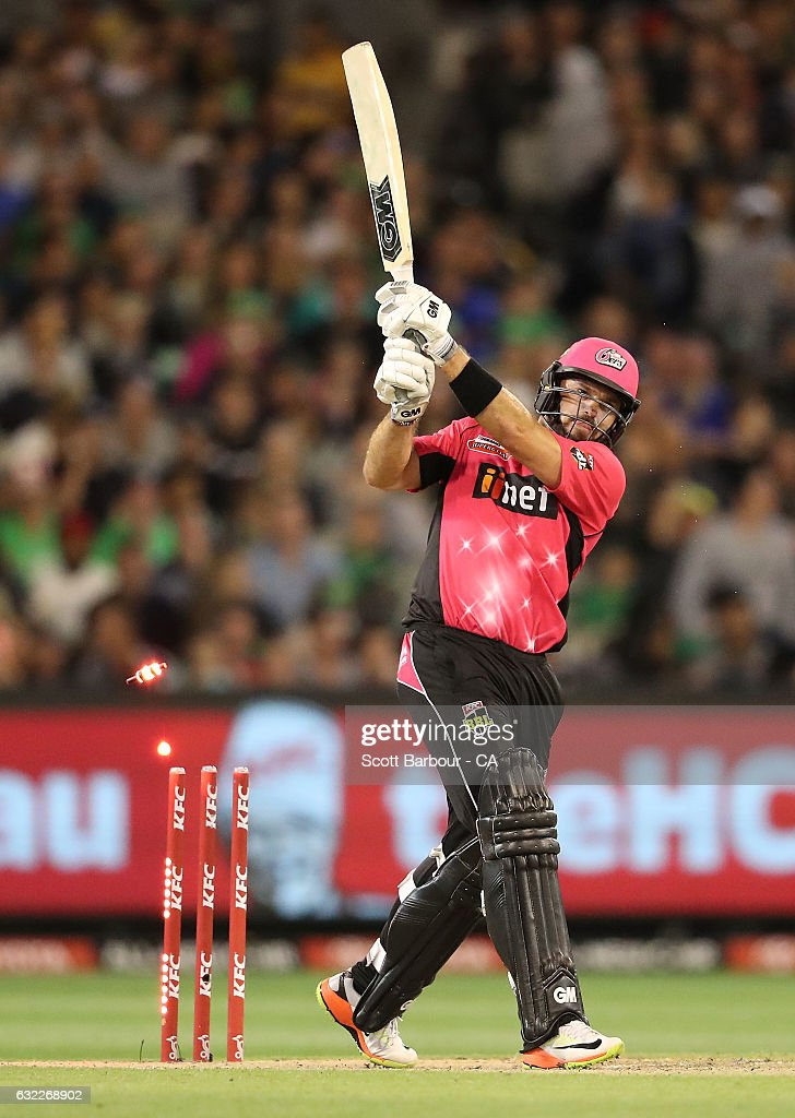 Michael Lumb of the Sixers is bowled out during the Big Bash League match between the Melbourne Stars and the Sydney Sixers at the Melbourne Cricket Ground on January 21, 2017 in Melbourne, Australia.