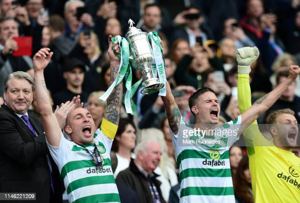 Michael Lustig , and Scott Brown of Celtic celebrate winning the Scottish Cup during the Scottish Cup Final between Heart of Midlothian FC and Celtic...