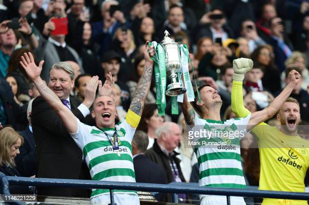 Michael Lustig and Scott Brown of Celtic celebrate winning the Scottish Cup during the Scottish Cup Final between Heart of Midlothian FC and Celtic...