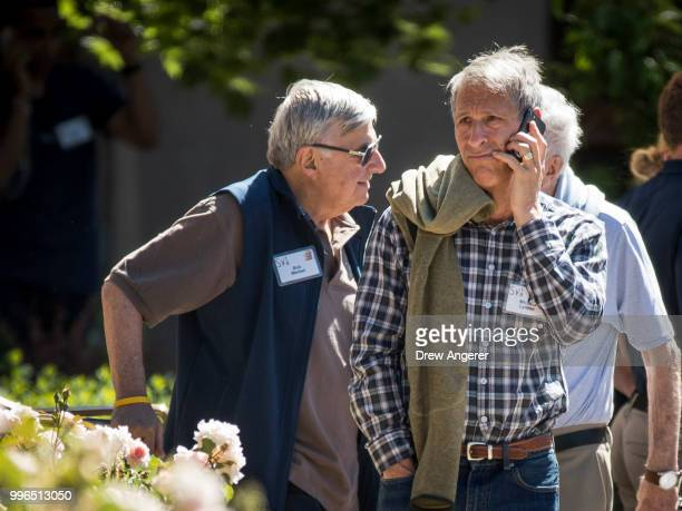 Michael Lynton chairman of Snap Inc talks on his phone during a the annual Allen Company Sun Valley Conference July 11 2018 in Sun Valley Idaho Every...
