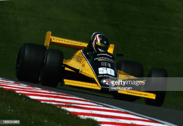 Michael Lyons drives the Penthouse RAM Racing Williams FW07 Ford Cosworth V8 in the FIA Masters Historic Formula One Championship race during the...