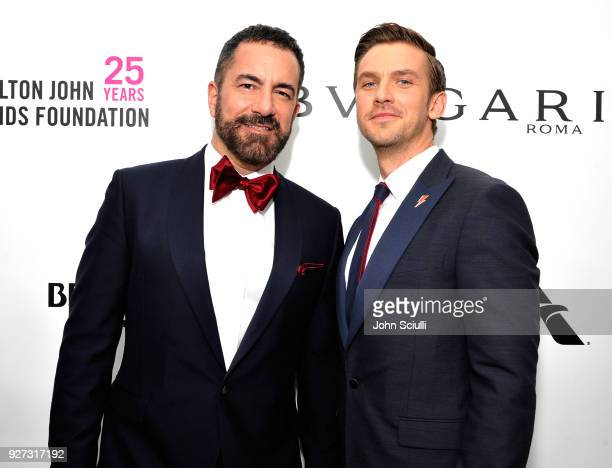Michael Maccari and Dan Stevens attend the 26th annual Elton John AIDS Foundation Academy Awards Viewing Party at The City of West Hollywood Park on...