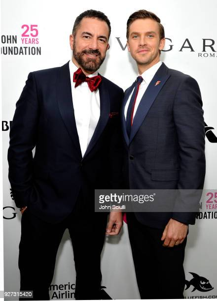 Michael Maccari and Dan Stevens attends the 26th annual Elton John AIDS Foundation Academy Awards Viewing Party at The City of West Hollywood Park on...