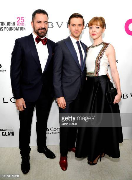 Michael Maccari Dan Stevens and Susie Hariet attend the 26th annual Elton John AIDS Foundation Academy Awards Viewing Party at The City of West...
