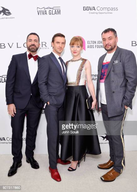 Michael Maccari Dan Stevens Susie Hariet and Michael Fisher attend the 26th annual Elton John AIDS Foundation Academy Awards Viewing Party at The...
