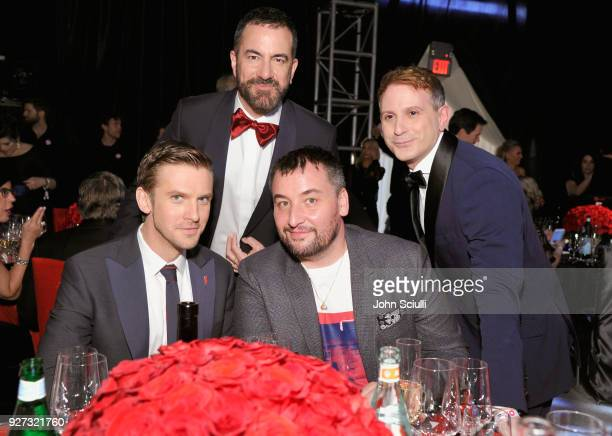 Michael Maccari Vincent Panzanella Dan Stevens and Michael Fisher attend the 26th annual Elton John AIDS Foundation Academy Awards Viewing Party at...
