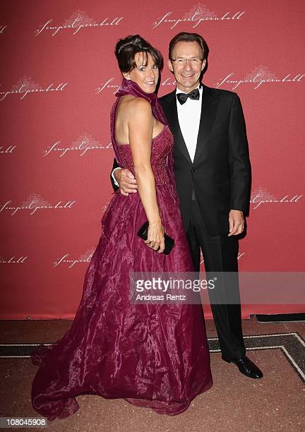 Michael Macht and his wife Katrin Macht arrive at the Semper Opera ball on January 14 2011 in Dresden Germany