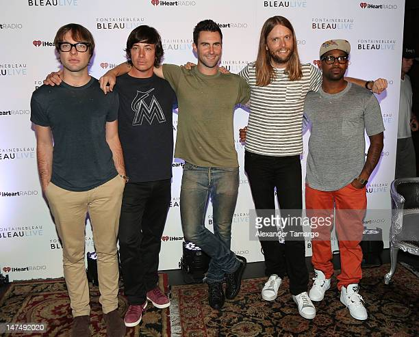 Michael Madden Matt Flynn Adam Levine James Valentine and PJ Morton of Maroon 5 arrive at I Heart Radio concert at Fontainebleau Miami Beach on June...