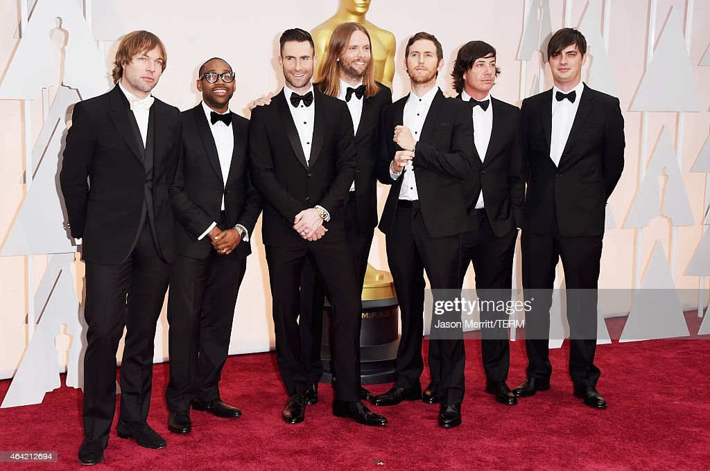 Michael Madden, PJ Morton, Adam Levine, James Valentine, Jesse Carmichael, and Matt Flynn of Maroon 5 attends the 87th Annual Academy Awards at Hollywood & Highland Center on February 22, 2015 in Hollywood, California.