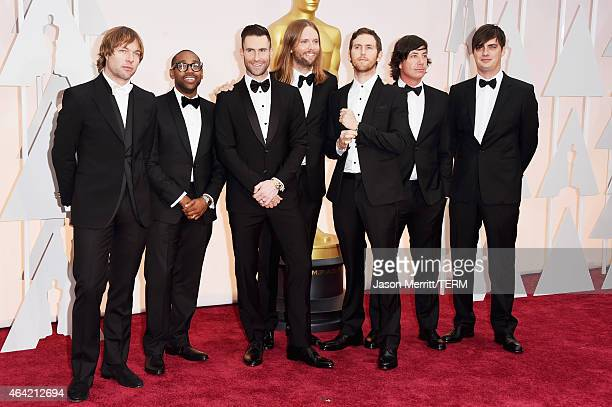 Michael Madden PJ Morton Adam Levine James Valentine Jesse Carmichael and Matt Flynn of Maroon 5 attends the 87th Annual Academy Awards at Hollywood...