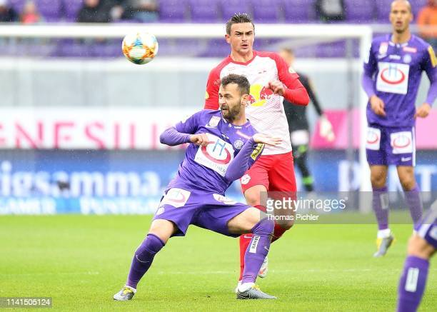 Michael Madl of Austria Wien and Smail Prevljak of Red Bull Salzburg during the tipico Bundesliga match between Austria Wien and RB Salzburg at...