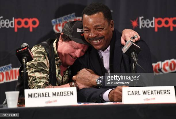 Michael Madsen and Carl Weathers attend the 'Explosion Jones' Panel at the 2017 New York Comic Con 2017 at Javits Center on October 5 2017 in New...