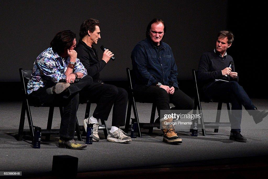 Michael Madsen, Lawrence Bender, Quentin Tarantino and Sundance Film Festival Senior Programmer John Nein speak at the 'Reservoir Dogs' 25th Anniversary Screening during the 2017 Sundance Film Festival at Eccles Center Theatre on January 27, 2017 in Park City, Utah.