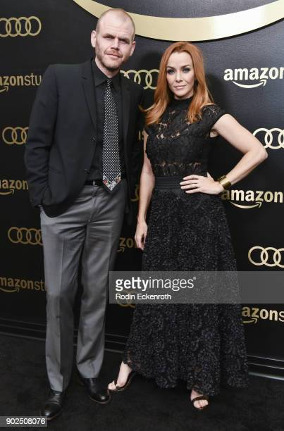 Michael Maize and actress Annie Wersching arrive at the Amazon Studios Golden Globes Celebration at The Beverly Hilton Hotel on January 7 2018 in...