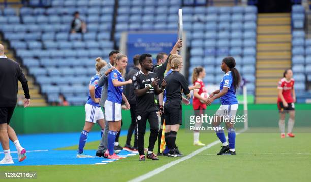 Michael Makoni assistant manager of Leicester City Women during the Barclays FA Women's Super League match between Leicester City Women and...