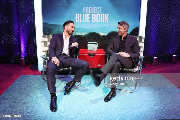 Michael Malarkey and Aidan Gillen of History's Project Blue Book attend the 2019 AE Networks Upfront at Jazz at Lincoln Center on March 27 2019 in...