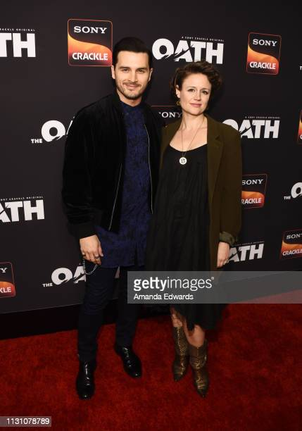 Michael Malarkey and Nadine Lewington arrive at Sony Crackle's 'The Oath' Season 2 exclusive screening event at Paloma on February 20 2019 in Los...
