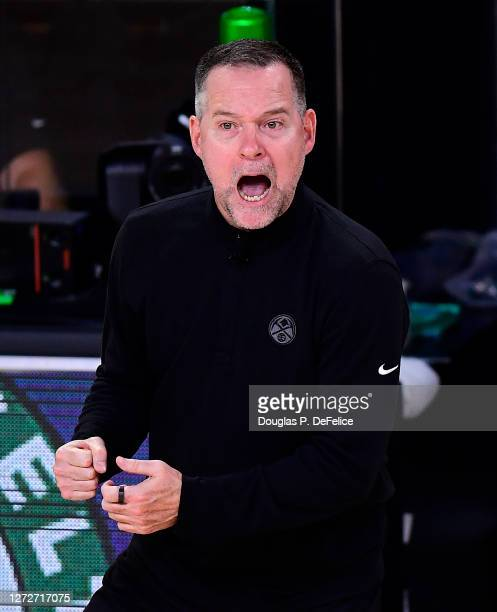 Michael Malone of the Denver Nuggets reacts during the fourth quarter against the LA Clippers in Game Seven of the Western Conference Second Round...
