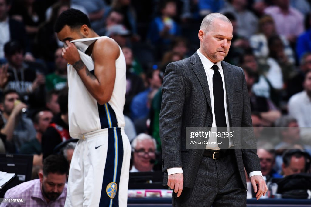 Michael Malone of the Denver Nuggets reacts to a 16-point deficit after a three pointer by Jayson Tatum (0) of the Boston Celtics forced him to call a timeout during the first half on Monday, January 29, 2018. The Denver Nuggets hosted the Boston Celtics at the Pepsi Center in Denver.