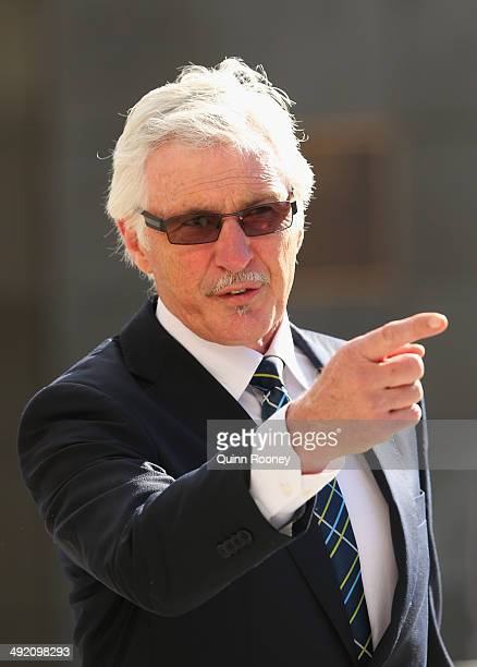 Michael Malthouse the coach of the blues arrives for the public service for Tom Hafey at Melbourne Cricket Ground on May 19 2014 in Melbourne...