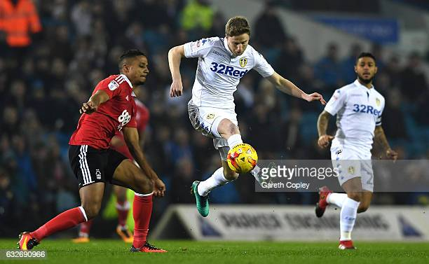 Michael Mancienne of Nottingham Forest closes down Eunan O'Kane of Leeds United during the Sky Bet Championship match between Leeds United and...