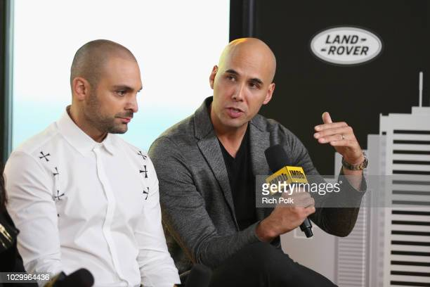 Michael Mando and director Kim Nguyen of 'The Hummingbird Project' attends The IMDb Studio presented By Land Rover At The 2018 Toronto International...