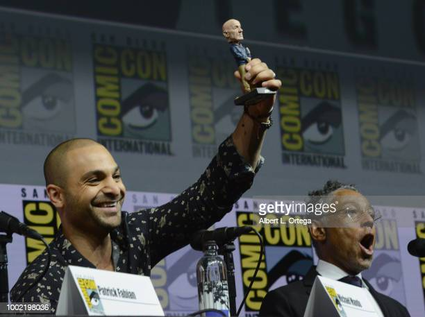 Michael Mando and Giancarlo Esposito speak onstage during AMC's 'Better Call Saul' during ComicCon International 2018 at San Diego Convention Center...
