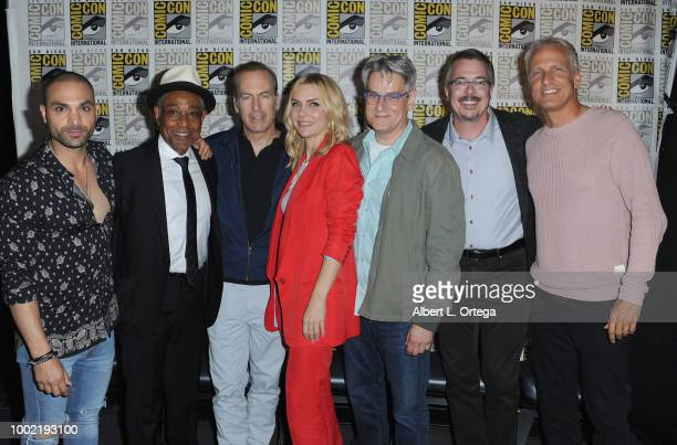 Michael Mando Giancarlo Esposito Bob Odenkirk Rhea Seehorn Peter Gould Vince Gilligan and Patrick Fabian pose during AMC's 'Better Call Saul' during...