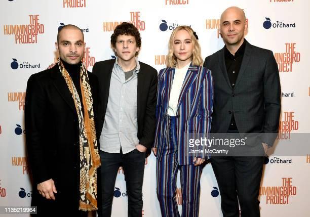 "Michael Mando, Jesse Eisenberg, Sarah Goldberg and writer/director Kim Nguyen attend ""The Hummingbird Project"" New York Screening at Metrograph on..."